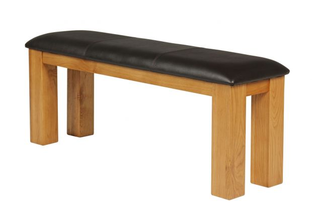 Country Oak 120cm Brown Leather Chunky Oak Bench