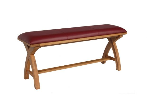 Red Leather Dining Bench 120cm Cross Leg Country Oak Design - WINTER SALE