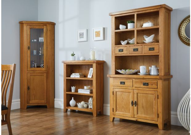 Country Oak Small 100cm Buffet and Hutch Display Cabinet Dresser - SPRING SALE