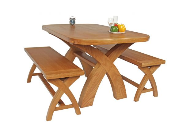 Country Oak 140cm X Leg Oval Table and 2 1.2m X Leg Country Oak Benches