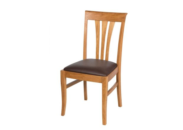 Victoria Oak Dining Chairs - Brown Leather Pad - WINTER SALE