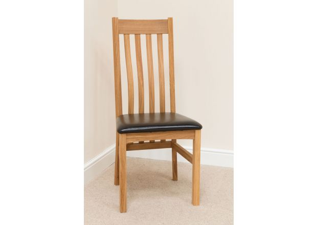 Winchester Solid Oak Chairs Black Leather - BLACK TAG DEAL