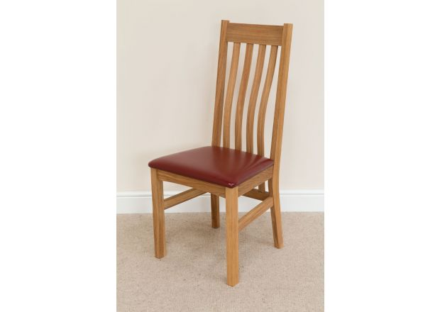 Red leather Winchester Premium Oak Chair Design - BLACK TAG DEAL