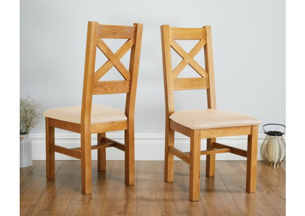 Windermere Cross Back Oak Dining Chair With Cream Leather Seat