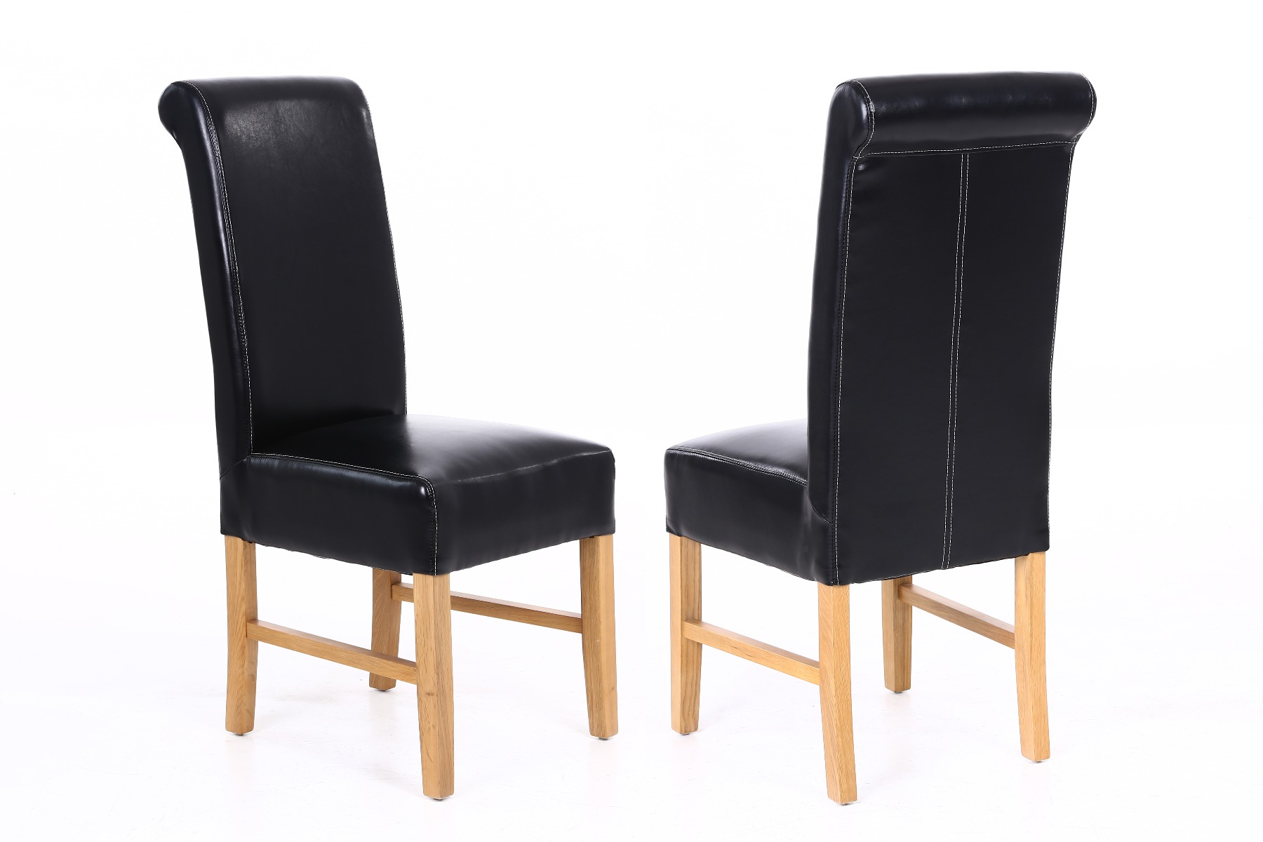 Fine Emperor Black Leather Scroll Back Dining Chairs With Oak Legs Autumn Sale Andrewgaddart Wooden Chair Designs For Living Room Andrewgaddartcom