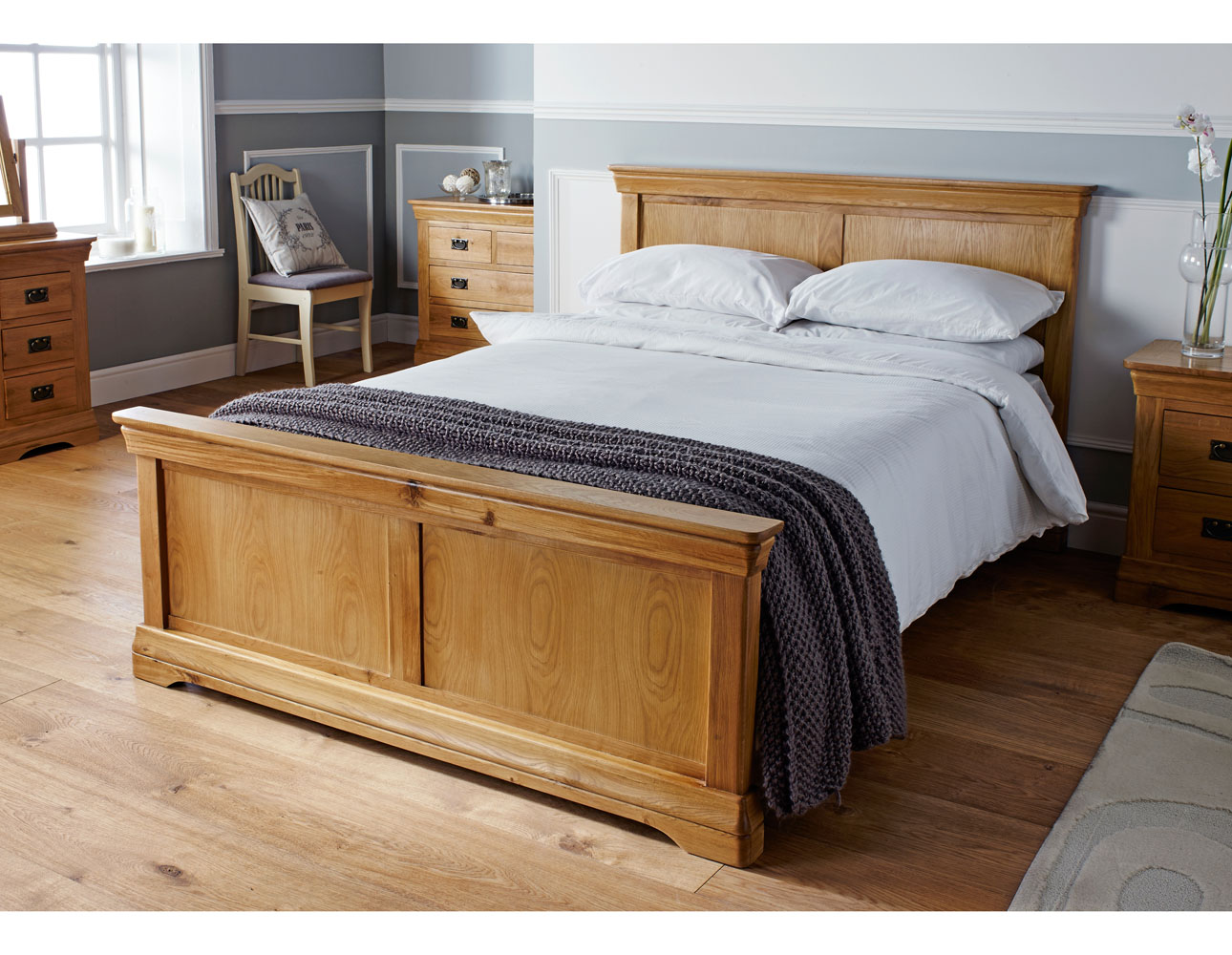 Farmhouse Country Oak Double Bed 4ft 6 inches - WINTER SALE