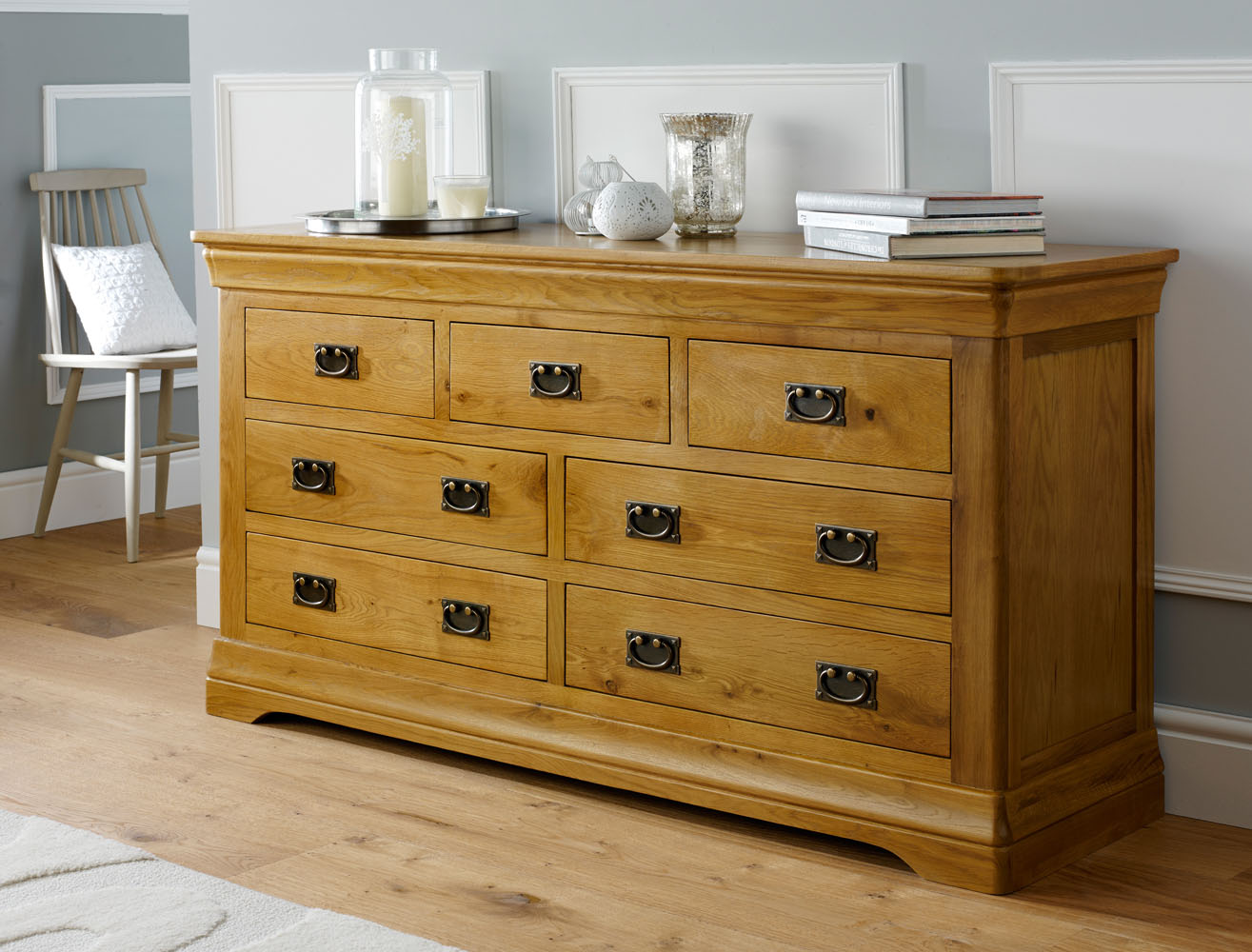 Farmhouse Country Oak Large 3 Over 4 Chest Of Drawers Free