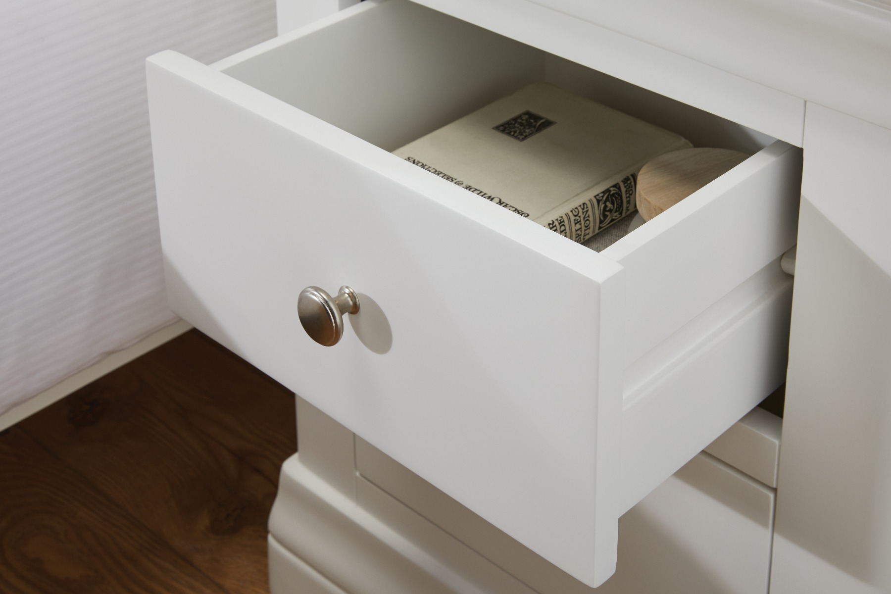 Farmhouse White Painted 2 Drawer Bedside Table