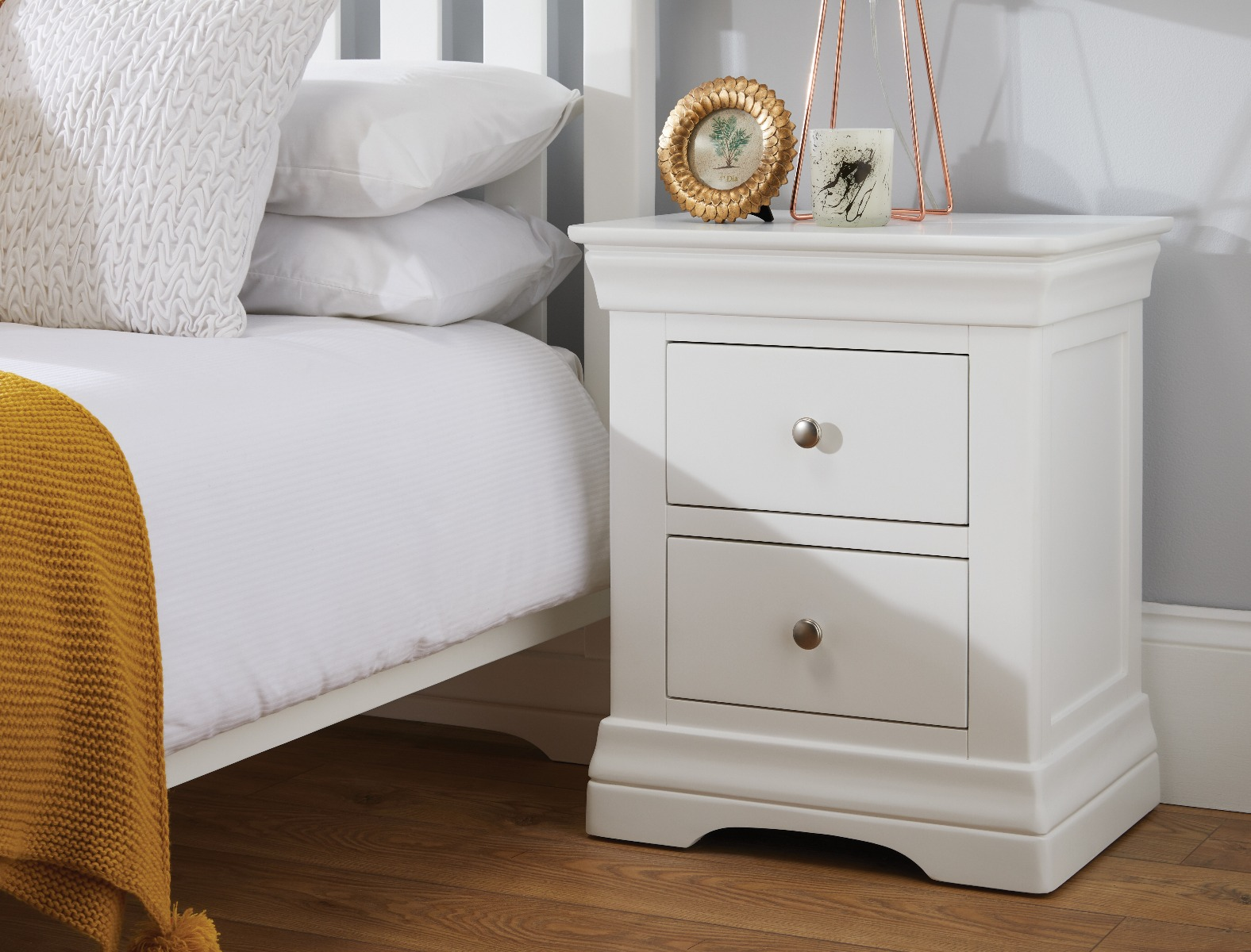 Toulouse White Painted 2 Drawer Bedside Table Free Delivery Top Furniture