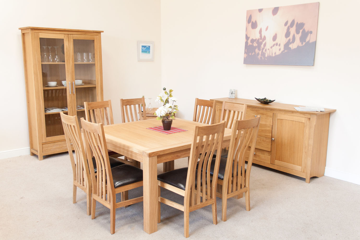 Minsk large square oak dining table 8 seater