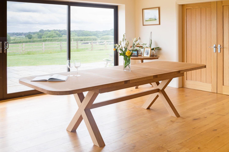 Large double extending cross leg oak table oval 10 12 seat watchthetrailerfo
